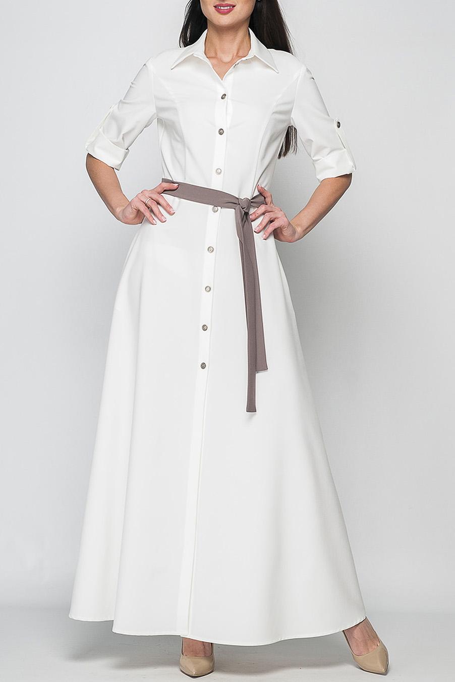 ПлатьеПлатья<br>Стильное женское платье-рубашка полуприлегающего силуэта, длина до щиколотки, воротник оформлен в рубашечном стиле.   Параметры изделия:  44 размер: обхват груди - 86 см, обхват талии - 78 см, длина рукава - 47см. длина изделия - 150 см;  52 размер: обхват груди - 104 см, обхват талии - 92 см,длина рукава - 47см, длина изделия - 155 см.  Цвет: белый.  Рост девушки-фотомодели 175 см<br><br>Воротник: Рубашечный<br>По длине: Макси<br>По материалу: Тканевые<br>По рисунку: Однотонные<br>По стилю: Повседневный стиль<br>По форме: Платье - рубашка,Платье - трапеция<br>По элементам: С отделочной фурнитурой,С патами<br>Рукав: До локтя<br>По сезону: Лето<br>По силуэту: Приталенные<br>Размер : 42<br>Материал: Плательная ткань<br>Количество в наличии: 1