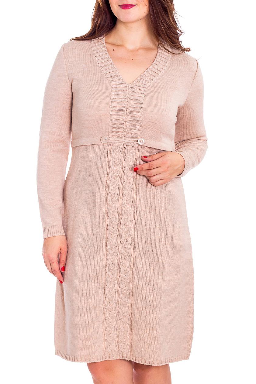 ПлатьеПлатья<br>Однотонное платье с V-образной горловиной и длинными рукавами. Модель выполнена из вязаного трикотажа. Вязаный трикотаж - это красота, тепло и комфорт. В вязаных вещах очень легко оставаться женственной и в то же время не замёрзнуть.  Цвет: бежевый  Рост девушки-фотомодели 180 см<br><br>Горловина: V- горловина<br>По длине: До колена<br>По материалу: Вязаные,Трикотаж<br>По рисунку: Однотонные,Фактурный рисунок<br>По сезону: Осень,Зима<br>По силуэту: Полуприталенные<br>По стилю: Повседневный стиль<br>По форме: Платье - трапеция<br>По элементам: С декором,С завышенной талией<br>Рукав: Длинный рукав<br>Размер : 46<br>Материал: Вязаное полотно<br>Количество в наличии: 1