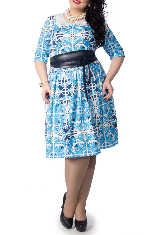 ПлатьеПлатья<br>Эффектное платье с отложным воротничком. Модель выполнена из приятного материала. Отличный выбор для любого случая.  Аксессуары и пояс в комплект не входят.  Цвет: голубой, белый, синий  Ростовка изделия 170 см.<br><br>Воротник: Отложной<br>Горловина: С- горловина<br>По длине: До колена<br>По материалу: Трикотаж<br>По рисунку: С принтом,Цветные<br>По силуэту: Приталенные<br>По стилю: Повседневный стиль<br>По форме: Платье - трапеция<br>Рукав: До локтя<br>По сезону: Осень,Весна,Зима<br>По элементам: С декором<br>Размер : 46,48,50,52,54<br>Материал: Трикотаж<br>Количество в наличии: 8