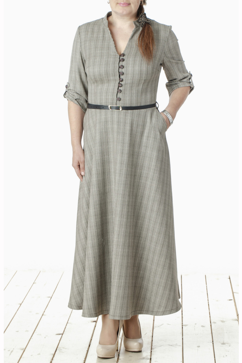 ПлатьеПлатья<br>Восхитительное платье в пол с V-образным вырезом и рукавами 3/4. Модель выполнена из приятной костюмной ткани. Отличный выбор для повседневного и делового гардероба. Платье дополнено поясом (цвет пояса может отличаться от изображенного)  Цвет: серый (гусиная лапка)  Длина изделия 130 см  Длина рукава 38 см   Рост девушки-фотомодели 165 см<br><br>По образу: Город,Офис,Свидание<br>По стилю: Повседневный стиль,Офисный стиль<br>По материалу: Вискоза,Костюмные ткани,Тканевые<br>По рисунку: Геометрия,Цветные<br>По сезону: Весна,Осень<br>По силуэту: Полуприталенные<br>По элементам: С пуговицами,С отделочной фурнитурой,С патами,С поясом<br>По форме: Платье - трапеция<br>По длине: Макси<br>Рукав: Рукав три четверти<br>Горловина: V- горловина<br>Размер: 44,46,48,50,52,54<br>Материал: 50% вискоза 50% полиэстер<br>Количество в наличии: 6