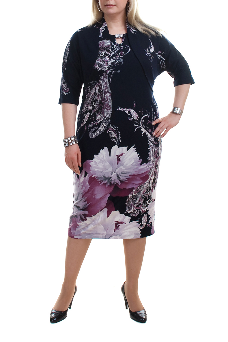 ПлатьеПлатья<br>Красивое платье с имитацией болеро. Модель выполнена из плотного трикотажа. Отличный выбор для повседневного гардероба.  Цвет: синий, белый, сиреневый  Рост девушки-фотомодели 176 см.<br><br>По длине: Ниже колена<br>По материалу: Вискоза,Трикотаж<br>По образу: Город,Свидание<br>По рисунку: Растительные мотивы,Цветные,Цветочные,С принтом<br>По сезону: Весна,Осень<br>По стилю: Повседневный стиль,Нарядный стиль<br>По форме: Платье - футляр<br>Рукав: Рукав три четверти<br>Воротник: Фантазийный<br>По силуэту: Приталенные<br>Размер : 52,54,56,58,60,62,68<br>Материал: Джерси<br>Количество в наличии: 10