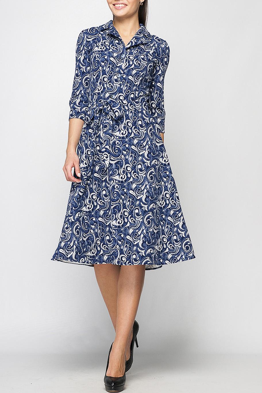 ПлатьеПлатья<br>Классическое платье из приятной плательной ткани. Данная модель выгодно подчеркнет Вашу талию и позволит быть не только привлекательной, но и ощущать себя комфортно целый день, отложной воротничок и застежка из пуговиц добавляет свою изюминку.   Пояс в комплект не входит.   Параметры изделия:  42 размер: обхват груди - 88 см, обхват талии - 72 см, длина рукава - 41 см, длина изделия - 104 см;  44 размер: обхват груди - 92 см, обхват талии - 80 см, длина рукава - 41 см, длина изделия - 104 см;  52 размер: обхват груди - 108 см, обхват талии - 96 см, длина рукава - 42 см, длина изделия - 109 см.  Цвет: синий, молочный.  Рост девушки-фотомодели 170 см<br><br>Воротник: Отложной<br>Горловина: V- горловина<br>По длине: Ниже колена<br>По материалу: Тканевые<br>По рисунку: С принтом,Цветные,Этнические<br>По силуэту: Полуприталенные,Приталенные<br>По стилю: Повседневный стиль<br>По форме: Платье - трапеция<br>По элементам: С воротником,С вырезом,С декором,Со складками<br>Рукав: Рукав три четверти<br>По сезону: Осень,Весна,Зима<br>Размер : 44,48,50<br>Материал: Плательная ткань<br>Количество в наличии: 3