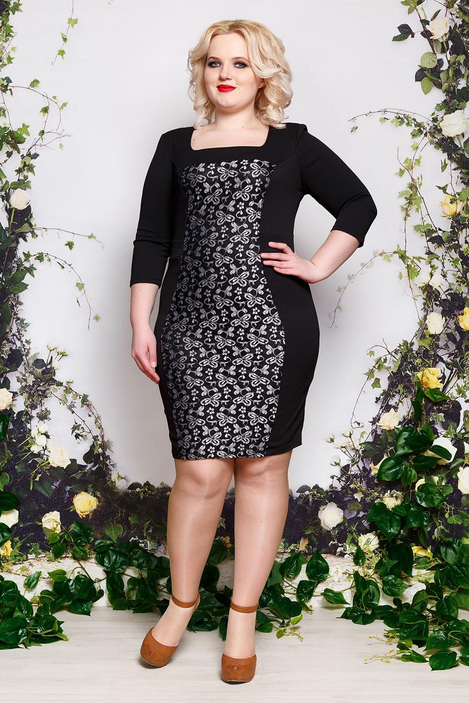 ПлатьеПлатья<br>Нарядное платье с красивой вставкой по переду изделия. Модель выполнена из приятного материала. Отличный выбор для любого случая.В изделии использованы цвета: черный, серебряныйПараметры размеров:44 размер - обхват груди 84 см., обхват талии 72 см., обхват бедер 97 см.46 размер - обхват груди 92 см., обхват талии 76 см., обхват бедер 100 см.48 размер - обхват груди 96 см., обхват талии 80 см., обхват бедер 103 см.50 размер - обхват груди 100 см., обхват талии 84 см., обхват бедер 106 см.52 размер - обхват груди 104 см., обхват талии 88 см., обхват бедер 109 см.54 размер - обхват груди 110 см., обхват талии 94,5 см., обхват бедер 114 см.56 размер - обхват груди 116 см., обхват талии 101 см., обхват бедер 119 см.58 размер - обхват груди 122 см., обхват талии 107,5 см., обхват бедер 124 см.60 размер - обхват груди 128 см., обхват талии 114 см., обхват бедер 129 см.Ростовка изделия 168 см.<br><br>Горловина: Квадратная горловина<br>Рукав: Рукав три четверти<br>Длина: До колена<br>Материал: Гипюр,Тканевые<br>Рисунок: С принтом,Цветные<br>Сезон: Весна,Всесезон,Зима,Лето,Осень<br>Силуэт: Приталенные<br>Стиль: Нарядный стиль<br>Форма: Платье - футляр<br>Размер : 50,52,54,56<br>Материал: Плательная ткань + Гипюр<br>Количество в наличии: 6