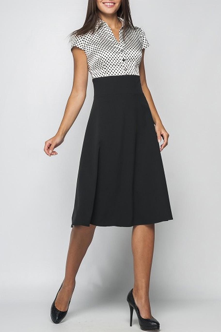 ПлатьеПлатья<br>Классическое женское платье станет основой Вашего повседневного гардероба. В нем можно пойти как на работу, так и на свидание.  Параметры изделия:  44 размер: ширина по линии груди 96 см, длина рукава 11 см, длина изделия 96,5 см;  52 размер: ширина по линии груди 112 см, длина рукава 11 см, длина изделия 105 см   Цвет: черный, белый.  Рост девушки-фотомодели 170 см<br><br>Воротник: Рубашечный,Стояче-отложной<br>По длине: Ниже колена<br>По материалу: Костюмные ткани,Тканевые<br>По рисунку: В горошек,Цветные,С принтом<br>По силуэту: Полуприталенные<br>По стилю: Винтаж,Офисный стиль,Повседневный стиль<br>По форме: Платье - трапеция<br>По элементам: С завышенной талией<br>Рукав: Короткий рукав<br>По сезону: Лето,Осень,Весна<br>Размер : 44<br>Материал: Костюмно-плательная ткань<br>Количество в наличии: 1