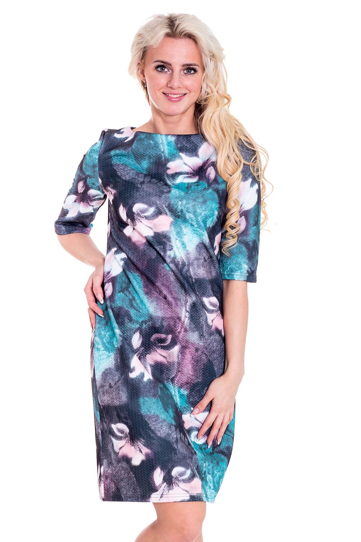 ПлатьеПлатья<br>Женственное платье с круглой горловиной и рукавами до локтя. Модель выполнена из жаккарда. Отличный выбор для любого случая.  Цвет: голубой, сиреневый, синий  Рост девушки-фотомодели 170 см<br><br>Горловина: С- горловина<br>По длине: До колена<br>По материалу: Жаккард<br>По образу: Город,Свидание<br>По рисунку: Растительные мотивы,Цветные,Цветочные<br>По сезону: Весна,Всесезон,Зима,Лето,Осень<br>По силуэту: Полуприталенные<br>По стилю: Нарядный стиль,Повседневный стиль<br>По форме: Платье - футляр<br>Рукав: До локтя<br>Размер : 44-46,48-50,52-54<br>Материал: Жаккард<br>Количество в наличии: 1
