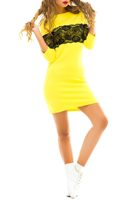 ПлатьеПлатья<br>Демисезонное платье, украшенное широкой кружевной вставкой контрастного цвета идеально подойдет для молодой девушки, которая ценит гармоничное соединение модных тенденций и комфорта. Широкое кружево на груди и рукавах зрительно увеличивает грудь и уменьшает талию. Особым преимуществом этой модели можно считать универсальность.  Цвет: желтый с черным кружевом.  Ростовка изделия 170 см<br><br>Горловина: Лодочка<br>По длине: До колена<br>По материалу: Гипюр,Трикотаж<br>По рисунку: Цветные<br>По силуэту: Полуприталенные<br>По стилю: Молодежный стиль,Повседневный стиль<br>По форме: Платье - футляр<br>По элементам: С декором<br>Рукав: Рукав три четверти<br>По сезону: Осень,Весна<br>Размер : 44-46<br>Материал: Трикотаж + Гипюр<br>Количество в наличии: 1