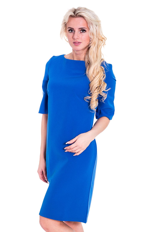ПлатьеПлатья<br>Однотонное платье с круглой горловиной и рукавами до локтя. Модель выполнена из плотного материала. Отличный выбор для любого случая.  Цвет: голубой  Рост девушки-фотомодели 170 см<br><br>По образу: Город,Свидание<br>По стилю: Повседневный стиль<br>По материалу: Тканевые<br>По рисунку: Однотонные<br>По сезону: Осень,Весна<br>По силуэту: Полуприталенные<br>По элементам: С отделочной фурнитурой<br>По форме: Платье - трапеция<br>Рукав: До локтя<br>Горловина: С- горловина<br>Размер: 44-46,56-58,48-50,52-54<br>Материал: 100% полиэстер<br>Количество в наличии: 1