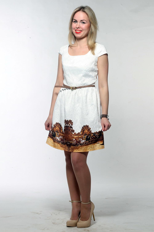ПлатьеПлатья<br>Замечательное платье с круглой горловиной и короткими рукавами. Модель выполнена из фактурного жаккарда. Отличный выбор для любого случая. Пояс из искусственной кожи входит в комплект (цвет пояса может отличаться от изображенного на картинке)  Цвет: белый, коричневый, бежевый  Длина изделия 87 см  Длина рукава 9 см  Рост девушки-фотомодели 161 см<br><br>Горловина: С- горловина<br>По длине: До колена<br>По материалу: Жаккард,Вискоза<br>По образу: Город,Свидание<br>По рисунку: С принтом,Растительные мотивы<br>По сезону: Весна,Всесезон,Зима,Лето,Осень<br>По силуэту: Полуприталенные<br>По стилю: Нарядный стиль,Повседневный стиль<br>По форме: Платье - трапеция<br>Рукав: Короткий рукав<br>Размер : 44,46,48,50,52<br>Материал: Жаккард<br>Количество в наличии: 5