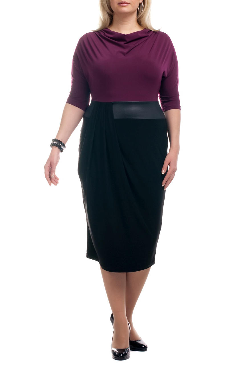 ПлатьеПлатья<br>Интересное платье имитирующее блузку и юбку. Модель выполнена из приятного трикотажа. Отличный выбор для любого торжества.  Цвет: черный, фиолетовый  Рост девушки-фотомодели 173 см<br><br>Горловина: Качель<br>По длине: Ниже колена<br>По материалу: Трикотаж<br>По образу: Город,Офис,Свидание<br>По рисунку: Цветные<br>По сезону: Весна,Осень<br>По силуэту: Полуприталенные<br>По стилю: Повседневный стиль<br>По форме: Платье - футляр<br>Рукав: Рукав три четверти<br>Размер : 52,60,62,66,68,70<br>Материал: Холодное масло<br>Количество в наличии: 10