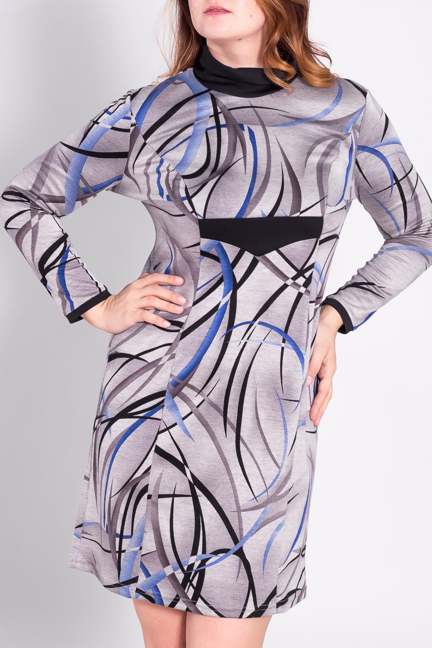 ПлатьеПлатья<br>Прелестное платье с длинными рукавами из плотного трикотажа  За счет свободного кроя и эластичного материала изделие можно носить во время беременности  Цвет: серый, черный, голубой  Рост девушки-фотомодели 180 см<br><br>Воротник: Хомут<br>По длине: До колена<br>По материалу: Вискоза,Трикотаж<br>По рисунку: Абстракция,Цветные,С принтом<br>По сезону: Зима<br>По силуэту: Полуприталенные<br>По стилю: Повседневный стиль<br>По форме: Платье - футляр<br>Рукав: Длинный рукав<br>Размер : 50<br>Материал: Джерси<br>Количество в наличии: 1