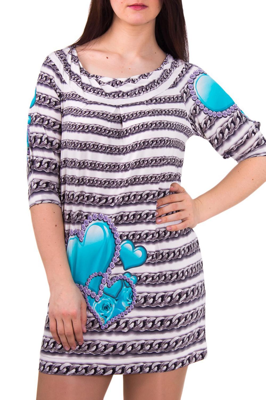 ПлатьеПлатья<br>Женское платье с круглой горловиной и рукавом 3/4. Модель выполнена из приятного трикотажа. Отличный выбор для повседневного гардероба.  Цвет: белый, серый, голубой  Рост девушки-фотомодели 180 см<br><br>Горловина: С- горловина<br>По материалу: Вискоза,Трикотаж<br>По рисунку: Цветные,С принтом<br>По сезону: Весна,Осень<br>По силуэту: Полуприталенные<br>Рукав: Рукав три четверти<br>По форме: Платье - футляр<br>По стилю: Повседневный стиль<br>По длине: До колена<br>Размер : 46<br>Материал: Холодное масло<br>Количество в наличии: 2