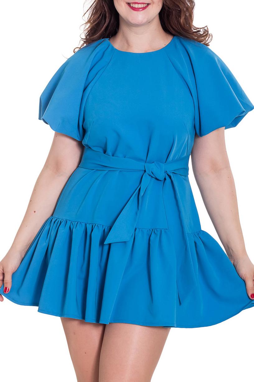 ПлатьеПлатья<br>Модное в этом сезоне платье с объемными рукавами. Модель выполнена из приятного материала. Отличный выбор для повседневного гардероба. Платье без пояса.  Цвет: синий  Ростовка изделия 170 см.  Рост девушки-фотомодели 180 см.<br><br>Горловина: С- горловина<br>По длине: До колена<br>По материалу: Тканевые<br>По образу: Город,Свидание<br>По рисунку: Однотонные<br>По стилю: Повседневный стиль<br>По форме: Платье - трапеция<br>Рукав: До локтя<br>По силуэту: Прямые<br>По элементам: С декором,Со складками<br>По сезону: Осень,Весна<br>Размер : 50<br>Материал: Плательная ткань<br>Количество в наличии: 1