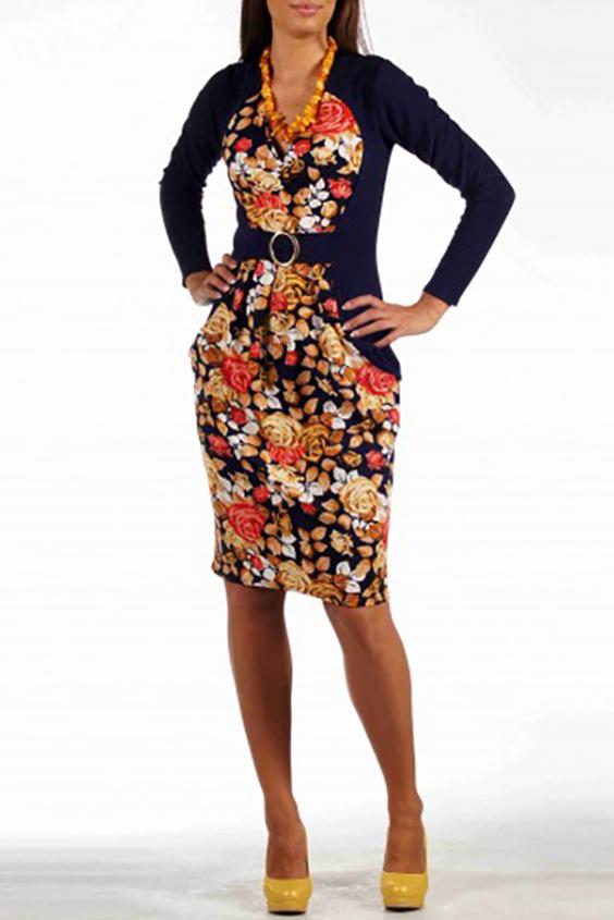 ПлатьеПлатья<br>Эффектное платье из плотного трикотажа с привлекательным вырезом горловины quot;на запахquot; и практичными карманами в швах фигурных рельефов. Центральная фигурная вставка переда, выполненная из набивного трикотажа, своей формой quot;рисуетquot; идеальные женские пропорции, подчеркивая грудь и тонкую талию. Отделочная вставка переда, отрезная по талии, и украшена поясом с пряжкой. Юбка вставки со складками в области талии, что позволяет скрыть недостатки фигуры. Спинка однотонная, темная, с талиевыми вытачками и функциональным разрезом в среднем шве.   Цвет: синий, желтый, бежевый, оранжевый  Длина  до 48 размера - 100 см, после 50 размера - 106 см<br><br>Горловина: V- горловина<br>По длине: До колена<br>По материалу: Трикотаж<br>По рисунку: Растительные мотивы,С принтом,Цветные,Цветочные<br>По сезону: Весна,Осень,Зима<br>По силуэту: Приталенные<br>По стилю: Повседневный стиль<br>По элементам: С карманами<br>Рукав: Длинный рукав<br>По форме: Платье - футляр<br>Размер : 46,48<br>Материал: Трикотаж<br>Количество в наличии: 3