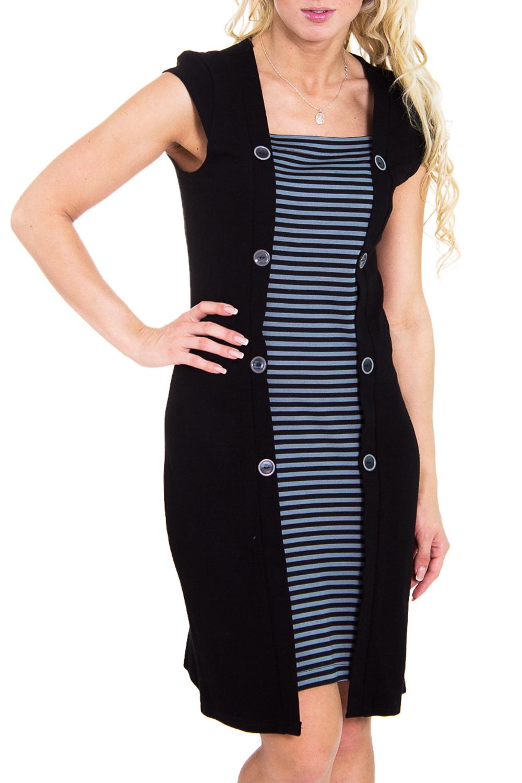 ПлатьеПлатья<br>Элегантное женское платье с короткими рукавами и завышенной талией. Модель выполнена из шерстянной ткани. Отличный выбор для повседневного и делового гардероба.  Цвет: черный, голубой  Рост девушки-фотомодели 170 см<br><br>Горловина: Квадратная горловина<br>По материалу: Шерсть<br>По рисунку: В полоску,Цветные<br>По силуэту: Полуприталенные<br>По стилю: Повседневный стиль<br>По форме: Платье - футляр<br>По элементам: С декором,С завышенной талией<br>Рукав: Короткий рукав<br>По сезону: Зима<br>Размер : 46<br>Материал: Костюмно-плательная ткань<br>Количество в наличии: 1