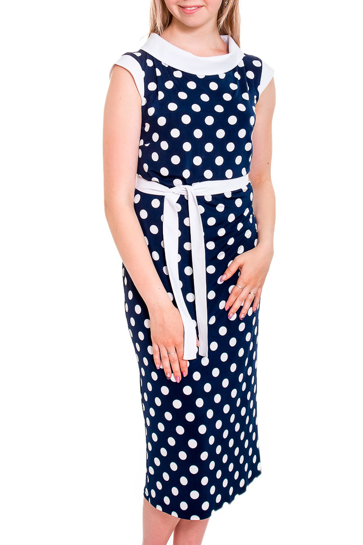 ПлатьеПлатья<br>Маленькое платье в стиле Шанель подчеркнет ваш хороший вкус Эта модель идеально подойдет для дневной прогулки, а так же для вечернего выхода. Платье без пояса.  В изделии использованы цвета: синий, белый  Рост девушки-фотомодели 170 см<br><br>Горловина: С- горловина<br>По длине: Ниже колена<br>По материалу: Трикотаж<br>По образу: Город<br>По рисунку: В горошек,С принтом,Цветные<br>По силуэту: Приталенные<br>По стилю: Повседневный стиль<br>По форме: Платье - футляр<br>Рукав: Без рукавов<br>По сезону: Лето<br>Размер : 44,46,54,58<br>Материал: Холодное масло<br>Количество в наличии: 1