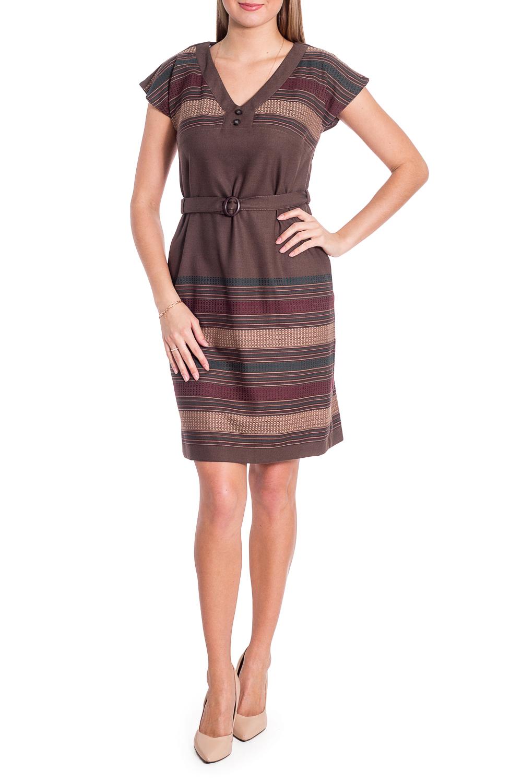 ПлатьеПлатья<br>Чудесное платье с V-образной горловиной и короткими рукавами. Модель выполнена из приятного материала. Отличный выбор для любого случая. Платье без пояса.  В изделии использованы цвета: коричневый, бежевый и др.  Рост девушки-фотомодели 170 см<br><br>Горловина: V- горловина<br>По длине: До колена<br>По материалу: Костюмные ткани,Тканевые<br>По рисунку: В полоску,С принтом,Цветные<br>По силуэту: Полуприталенные<br>По стилю: Повседневный стиль<br>По форме: Платье - футляр<br>По элементам: С отделочной фурнитурой,С разрезом<br>Разрез: Короткий,Шлица<br>Рукав: Короткий рукав<br>По сезону: Осень,Весна<br>Размер : 44,46,50<br>Материал: Костюмно-плательная ткань<br>Количество в наличии: 3