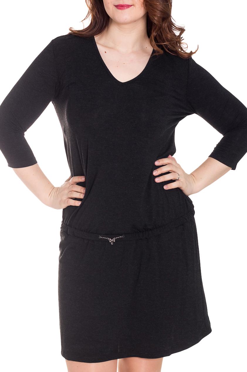 ПлатьеПлатья<br>Однотонное платье с V-образной горловиной и рукавами 3/4. Модель выполнена из приятного трикотажа. Отличный выбор для любого случая.  За счет свободного кроя и эластичного материала изделие можно носить во время беременности Ростовка 170-176 см.  Цвет: черный  Рост девушки-фотомодели 180 см<br><br>Горловина: V- горловина<br>По длине: До колена<br>По материалу: Вискоза,Трикотаж<br>По образу: Город,Офис,Свидание<br>По рисунку: Однотонные<br>По силуэту: Полуприталенные<br>По стилю: Классический стиль,Офисный стиль,Повседневный стиль<br>Рукав: Рукав три четверти<br>По сезону: Осень,Весна,Зима<br>Размер : 46,48,50,52<br>Материал: Трикотаж<br>Количество в наличии: 4