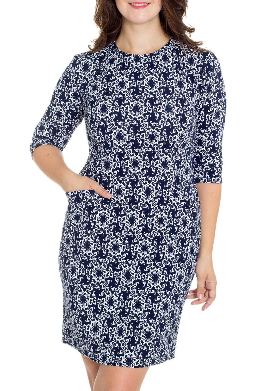 ПлатьеПлатья<br>Цветное женское платье с круглой горловиной и рукавами 3/4. Модель выполнена из приятного трикотажа. Отличный выбор для повседневного гардероба.  В изделии использованы цвета: синий, белый  Рост девушки-фотомодели 180 см.<br><br>Горловина: С- горловина<br>По длине: До колена<br>По материалу: Трикотаж<br>По рисунку: С принтом,Цветные<br>По силуэту: Полуприталенные<br>По стилю: Повседневный стиль<br>По форме: Платье - футляр<br>По элементам: С карманами<br>Рукав: Рукав три четверти<br>По сезону: Осень,Весна,Зима<br>Размер : 50,52,54,56,58<br>Материал: Трикотаж<br>Количество в наличии: 7