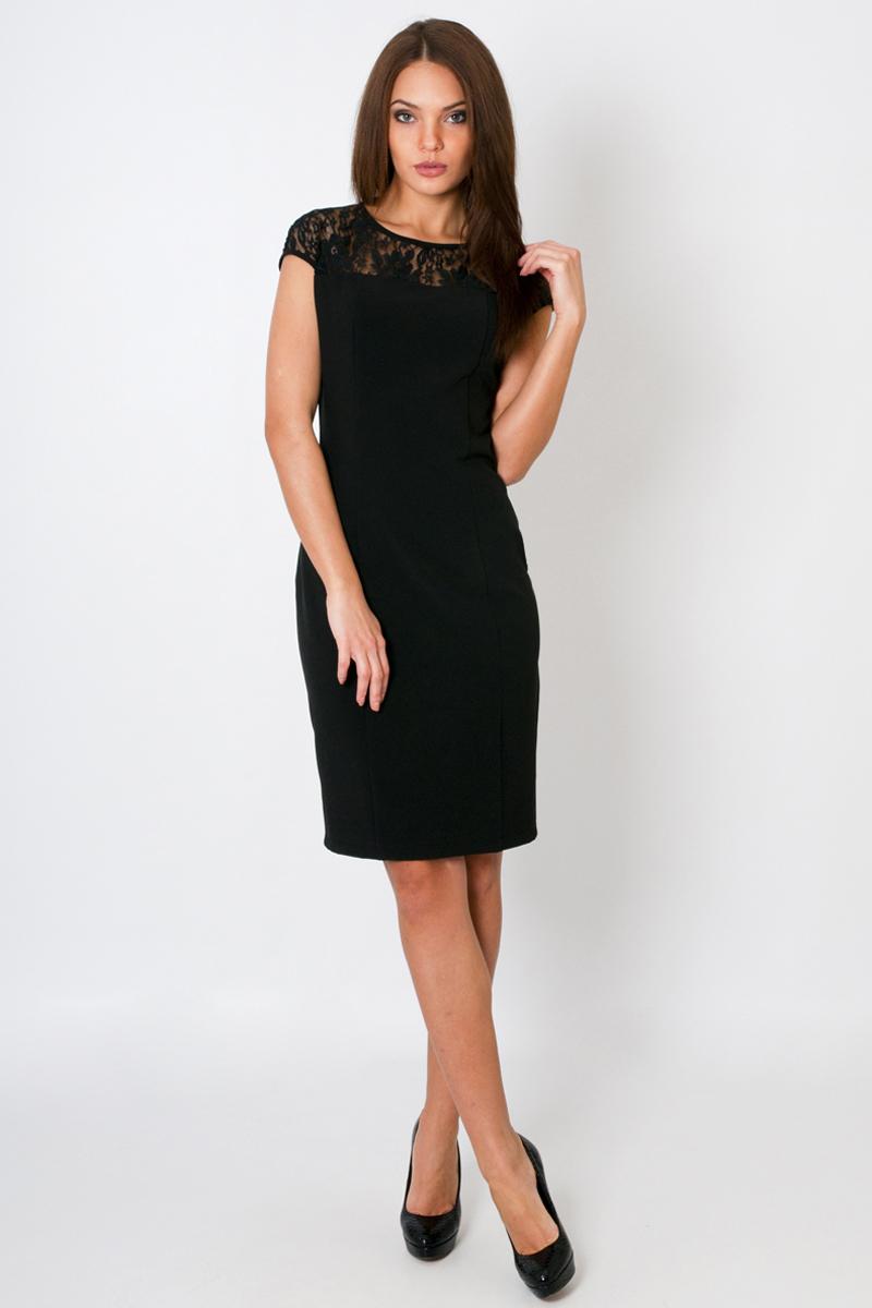 ПлатьеПлатья<br>Нарядное женское платье с круглой горловиной и короткими рукавами. Модель приталенного силуэта, выполнена из приятного трикотажа. Отличный выбор для любого торжества.  Цвет: черный  Параметры: 44 размер: длина изделия по спинке - 97 см, полуобхват по линии груди - 47 см, полуобхват по линии бедра - 49 см; 52 размер: длина изделия по спинке - 100 см, полуобхват по линии груди - 55 см, полуобхват по линии бедра - 57 см  Рост девушки-фотомодели 170 см<br><br>По образу: Выход в свет,Свидание,Город<br>По стилю: Нарядный стиль,Повседневный стиль<br>По материалу: Трикотаж<br>По рисунку: Однотонные<br>По сезону: Всесезон,Зима,Весна,Лето,Осень<br>По силуэту: Полуприталенные<br>По форме: Платье - футляр<br>По длине: До колена<br>Рукав: Короткий рукав<br>Горловина: С- горловина<br>Размер: 52,46,50<br>Материал: 97% полиэстер 3% эластан<br>Количество в наличии: 2