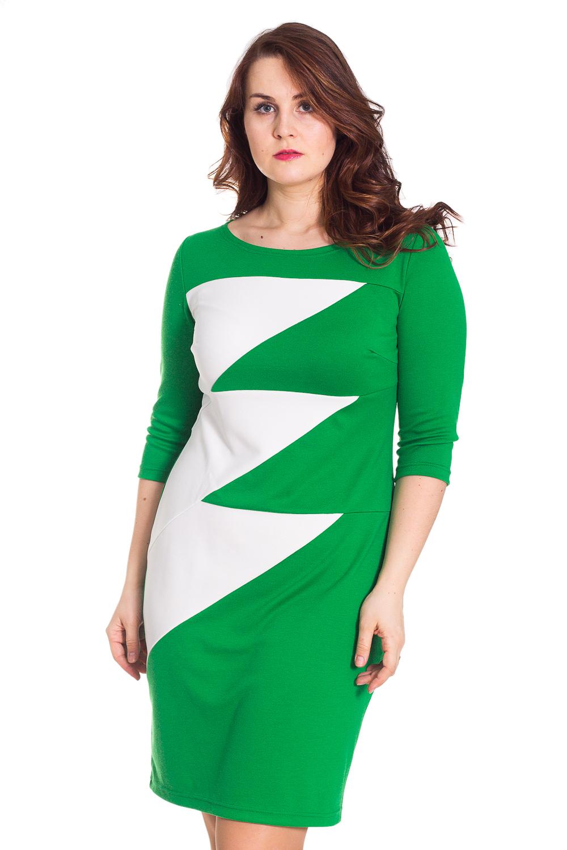 ПлатьеПлатья<br>Женское платье прилегающего силуэта из трикотажного полотна, двухцветное. Вырез горловины округлой формы. Длина рукава 3/4. Цвет: зеленый, белый.  Рост девушки-фотомодели 180 см<br><br>По образу: Город,Свидание<br>По стилю: Повседневный стиль<br>По материалу: Вискоза,Трикотаж<br>По рисунку: Цветные<br>По сезону: Осень,Весна<br>По силуэту: Приталенные<br>По элементам: С декором<br>По форме: Платье - футляр<br>По длине: До колена<br>Рукав: Рукав три четверти<br>Горловина: С- горловина<br>Размер: 48,50,54<br>Материал: 65% вискоза 30% полиэстер 5% эластан<br>Количество в наличии: 2