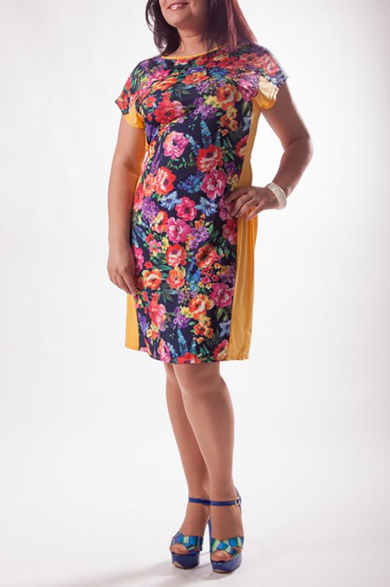 ПлатьеПлатья<br>Цветное платье с короткими рукавами и однотонными вставками по бокам. Модель выполнена из приятного трикотажа. Отличный выбор для повседневного гардероба.  Цвет: желтый, мультицвет  Ростовка изделия 170 см.<br><br>Горловина: С- горловина<br>По длине: До колена<br>По материалу: Трикотаж<br>По рисунку: Растительные мотивы,С принтом,Цветные,Цветочные<br>По силуэту: Полуприталенные<br>По стилю: Повседневный стиль<br>По форме: Платье - футляр<br>Рукав: Короткий рукав<br>По сезону: Лето<br>Размер : 50,52,54,56<br>Материал: Холодное масло<br>Количество в наличии: 4
