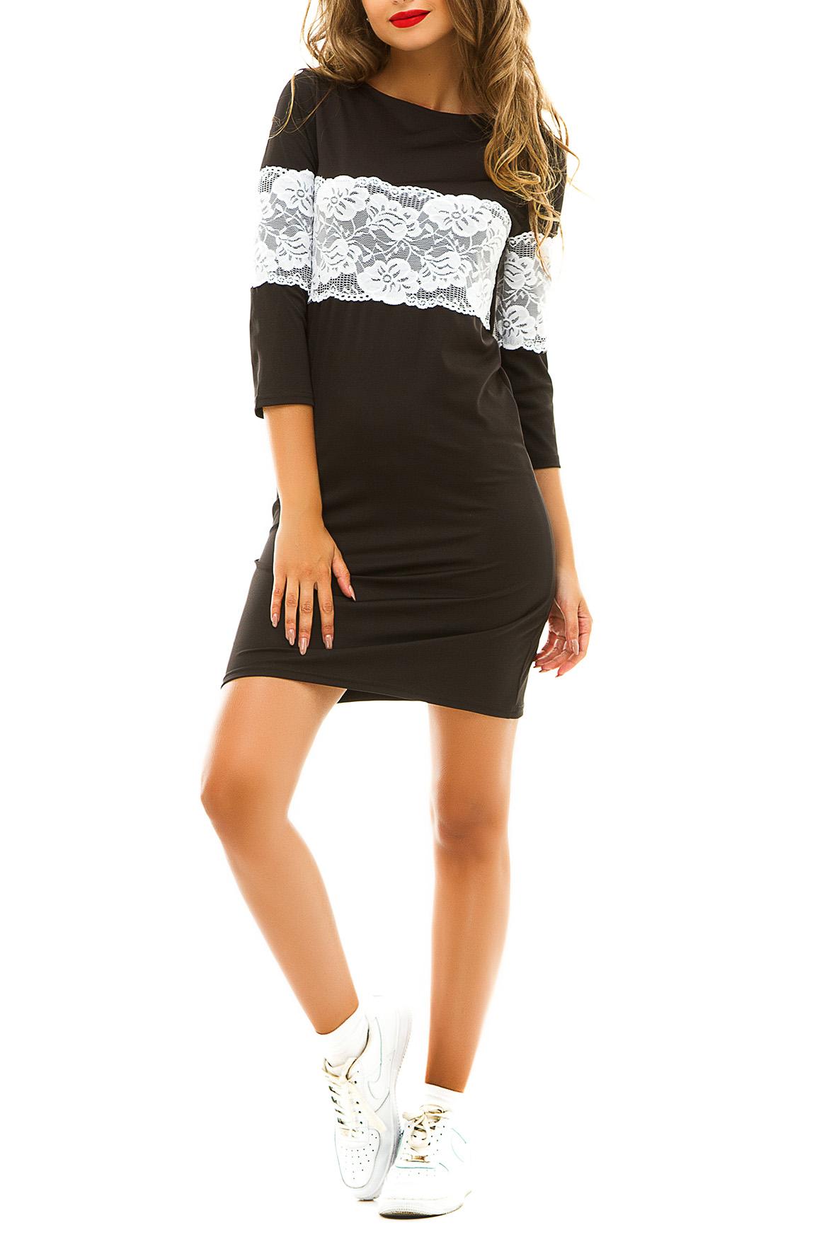 ПлатьеПлатья<br>Демисезонное платье, украшенное широкой кружевной вставкой контрастного цвета идеально подойдет для молодой девушки, которая ценит гармоничное соединение модных тенденций и комфорта. Широкое кружево на груди и рукавах зрительно увеличивает грудь и уменьшает талию. Особым преимуществом этой модели можно считать универсальность.  Цвет: черный с белым кружевом.  Ростовка изделия 170 см<br><br>Горловина: Лодочка<br>По длине: До колена<br>По материалу: Гипюр,Трикотаж<br>По образу: Город,Свидание<br>По рисунку: Цветные<br>По силуэту: Полуприталенные<br>По стилю: Молодежный стиль,Повседневный стиль<br>По форме: Платье - футляр<br>По элементам: С декором<br>Рукав: Рукав три четверти<br>По сезону: Осень,Весна<br>Размер : 44-46<br>Материал: Трикотаж + Гипюр<br>Количество в наличии: 1
