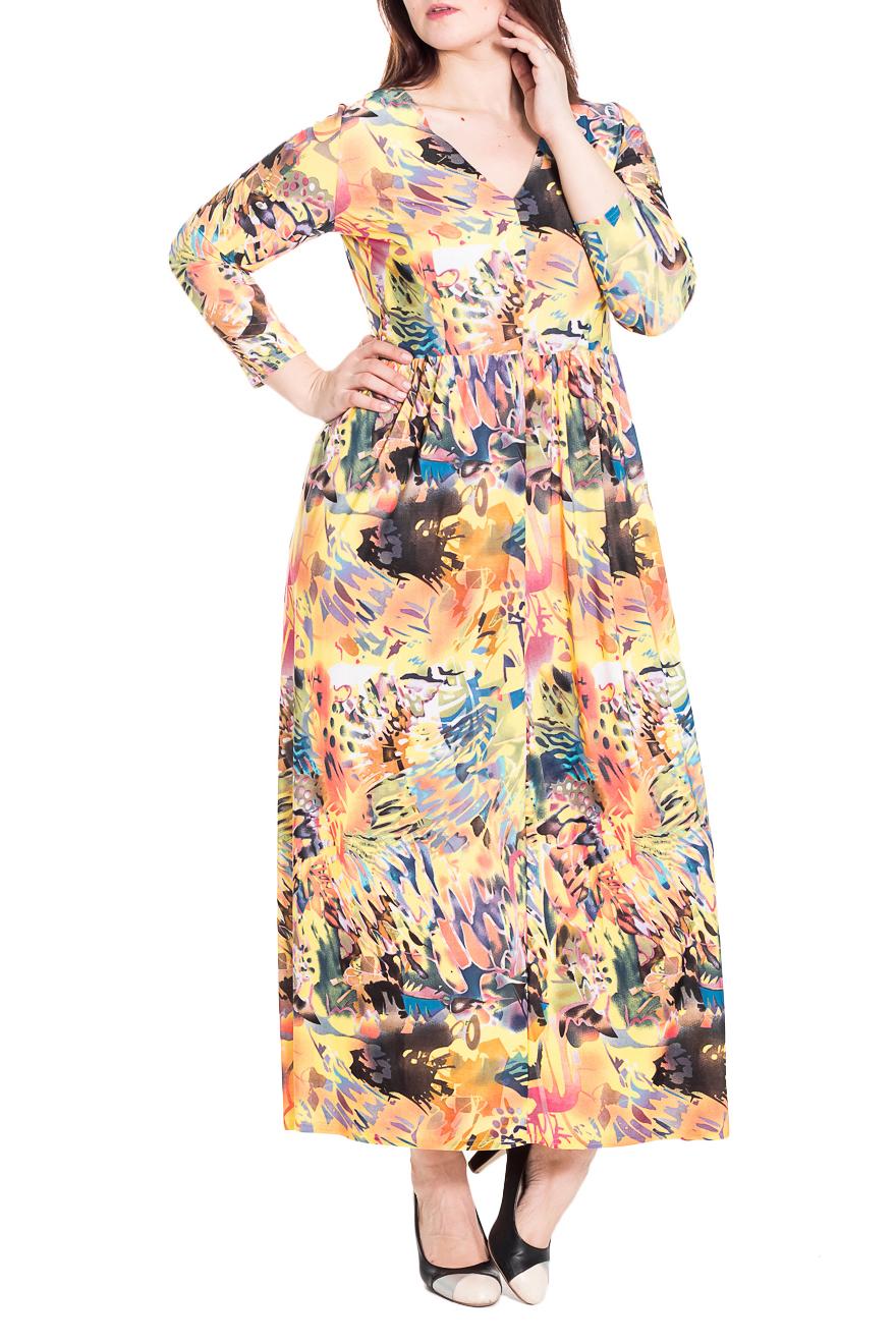 ПлатьеПлатья<br>Дивное платье в пол c V-образной горловиной и рукавами 3/4. Модель выполнена из приятного трикотажа. Отличный выбор для любого торжества.  Цвет: желтый, розовый, голубой, серый, оранжевый  Рост девушки-фотомодели 180 см.<br><br>Горловина: V- горловина<br>По длине: Макси<br>По материалу: Трикотаж<br>По рисунку: Абстракция,Цветные<br>По сезону: Весна,Всесезон,Зима,Лето,Осень<br>По силуэту: Полуприталенные<br>По стилю: Повседневный стиль<br>По форме: Платье - трапеция<br>Рукав: Рукав три четверти<br>Размер : 48<br>Материал: Холодное масло<br>Количество в наличии: 2