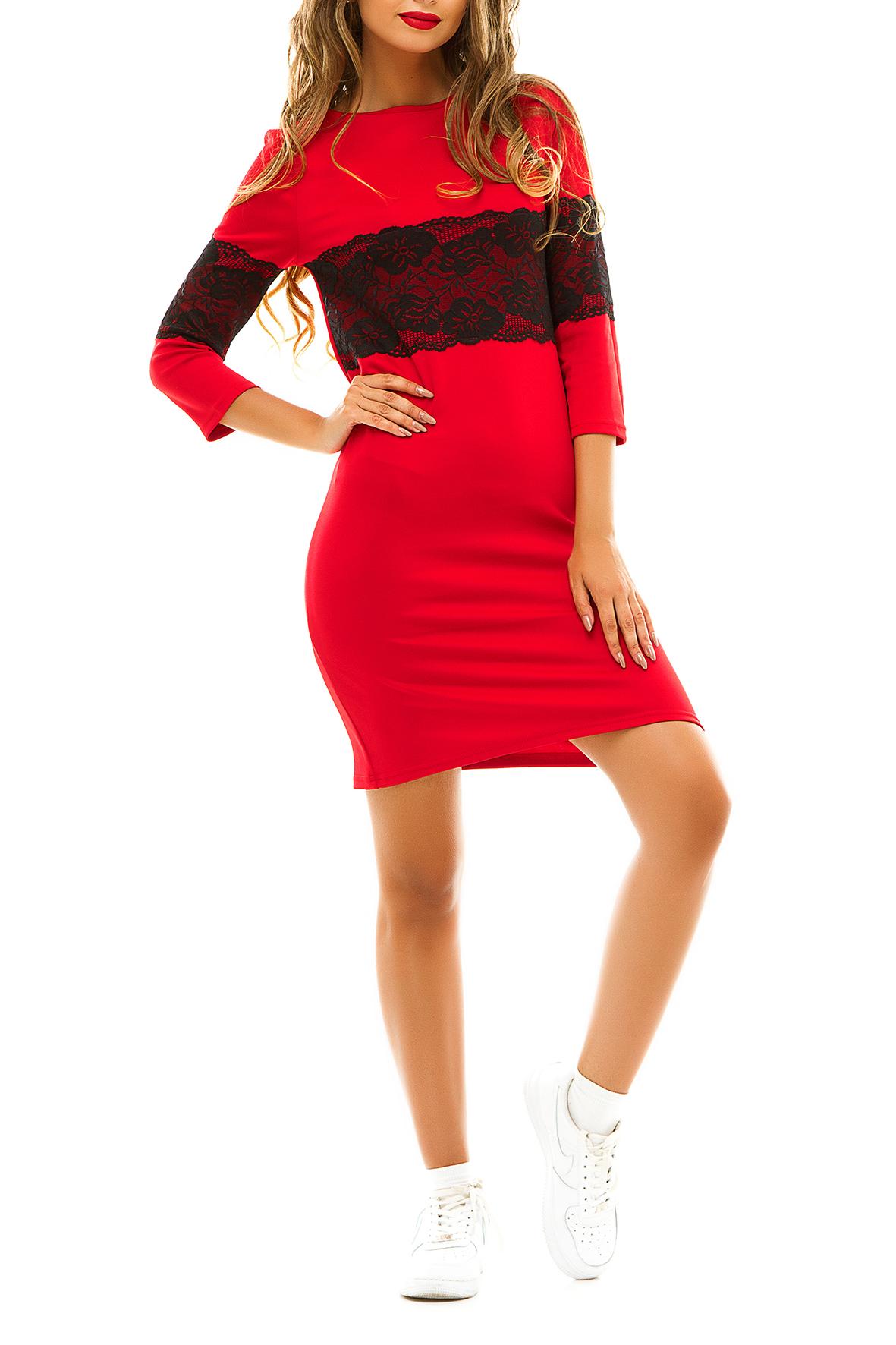 ПлатьеПлатья<br>Демисезонное платье, украшенное широкой кружевной вставкой контрастного цвета идеально подойдет для молодой девушки, которая ценит гармоничное соединение модных тенденций и комфорта. Широкое кружево на груди и рукавах зрительно увеличивает грудь и уменьшает талию. Особым преимуществом этой модели можно считать универсальность.  Цвет: красный с черным кружевом.  Ростовка изделия 170 см<br><br>Горловина: Лодочка<br>По длине: До колена<br>По материалу: Гипюр,Трикотаж<br>По образу: Город,Свидание<br>По рисунку: Цветные<br>По силуэту: Полуприталенные<br>По стилю: Молодежный стиль,Повседневный стиль<br>По форме: Платье - футляр<br>По элементам: С декором<br>Рукав: Рукав три четверти<br>По сезону: Осень,Весна<br>Размер : 42-44,44-46<br>Материал: Трикотаж + Гипюр<br>Количество в наличии: 2