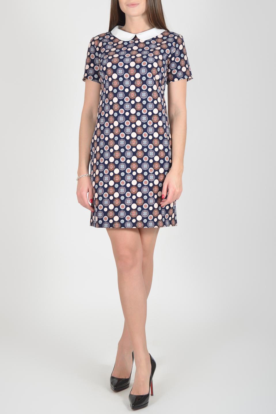 ПлатьеПлатья<br>Цветное платье с контрастным воротничком и короткими рукавами. Модель выполнена из мягкой вискозы. Отличный выбор для повседневного гардероба.  Длина изделия по спинке до 48 размера - 85 см., от 48 размера - 93 см.  В изделии использованы цвета: синий, белый и др.  Рост девушки-фотомодели 170 см.  Параметры размеров: 42 размер - обхват груди 84 см., обхват талии 66 см., обхват бедер 92 см. 44 размер - обхват груди 88 см., обхват талии 70 см., обхват бедер 96 см. 46 размер - обхват груди 92 см., обхват талии 74 см., обхват бедер 100 см. 48 размер - обхват груди 96 см., обхват талии 78 см., обхват бедер 104 см. 50 размер - обхват груди 100 см., обхват талии 82 см., обхват бедер 108 см. 52 размер - обхват груди 104 см., обхват талии 86 см., обхват бедер 112 см. 54 размер - обхват груди 108 см., обхват талии 91 см., обхват бедер 116 см. 56 размер - обхват груди 112 см., обхват талии 95 см., обхват бедер 120 см. 58 размер - обхват груди 116 см., обхват талии 100 см., обхват бедер 124 см. 60 размер - обхват груди 120 см., обхват талии 105 см., обхват бедер 128 см.<br><br>Воротник: Отложной<br>Горловина: С- горловина<br>По длине: До колена<br>По материалу: Вискоза<br>По рисунку: С принтом,Цветные<br>По силуэту: Полуприталенные<br>По стилю: Повседневный стиль<br>По форме: Платье - футляр<br>Рукав: Короткий рукав<br>По сезону: Осень,Весна<br>Размер : 46,48,50,52<br>Материал: Вискоза<br>Количество в наличии: 12