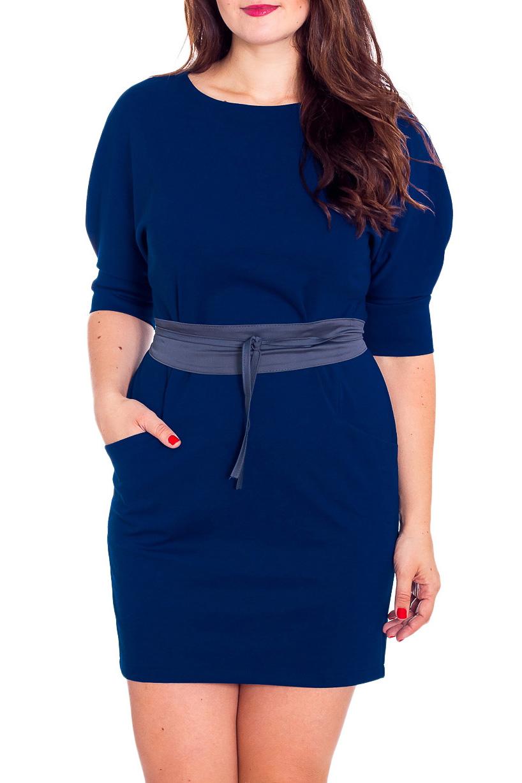 ПлатьеПлатья<br>Однотонное платье полуприталенного силуэта с круглой горловиной и рукавами 3/4. Модель выполнена из приятного материала. Отличный выбор для повседневного гардероба. Платье без пояса.  Цвет: синий  Рост девушки-фотомодели 180 см<br><br>Горловина: С- горловина<br>По длине: До колена<br>По материалу: Трикотаж,Хлопок<br>По рисунку: Однотонные<br>По силуэту: Полуприталенные<br>По стилю: Повседневный стиль<br>По форме: Платье - футляр<br>По элементам: С карманами,С манжетами<br>Рукав: До локтя<br>По сезону: Осень,Весна,Зима<br>Размер : 54<br>Материал: Трикотаж<br>Количество в наличии: 1