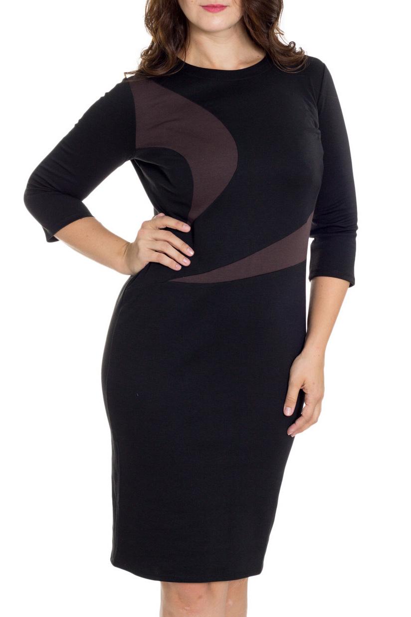ПлатьеПлатья<br>Элегантное платье построенное на сочетании двух контрастных цветов и ассиметричном рисунке. Классический вариант для офиса. Вырез горловины круглый. Рукав 3/4. Ткань - плотный трикотаж, характеризующийся эластичностью, растяжимостью и мягкостью.  Плотность ткани 280 гр/м2  Длина изделия 100-105 см.  В изделии использованы цвета: черный, коричневый  Рост девушки-фотомодели 180 см<br><br>Горловина: С- горловина<br>По длине: До колена<br>По материалу: Вискоза,Трикотаж<br>По образу: Город,Свидание<br>По рисунку: Цветные<br>По силуэту: Приталенные<br>По стилю: Повседневный стиль<br>По форме: Платье - футляр<br>Рукав: Рукав три четверти<br>По сезону: Осень,Весна<br>Размер : 48,50,52,56,58,60<br>Материал: Трикотаж<br>Количество в наличии: 6
