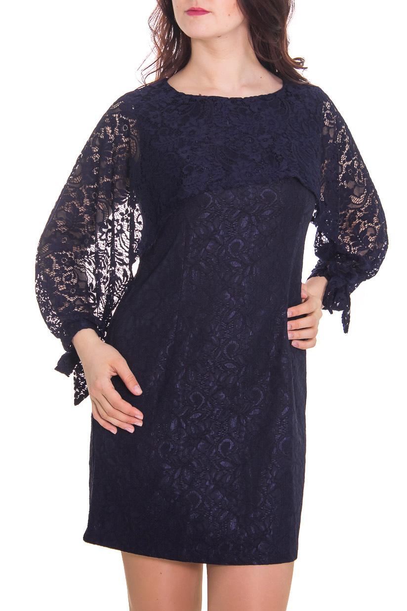 ПлатьеПлатья<br>Женское платье с круглой горловиной и интересными рукавами. Модель выполнена из ажурного гипюра. Отличный выбор для повседневного гардероба.  Рост девушки-фотомодели 180 см.  Цвет: синий<br><br>Горловина: С- горловина<br>По рисунку: Однотонные,Фактурный рисунок<br>По сезону: Весна,Всесезон,Зима,Лето,Осень<br>По форме: Платье - футляр<br>По материалу: Гипюр,Вискоза<br>По стилю: Повседневный стиль,Нарядный стиль<br>По длине: До колена<br>По силуэту: Приталенные<br>Рукав: Рукав три четверти<br>Размер : 46,48,52<br>Материал: Вискоза<br>Количество в наличии: 4