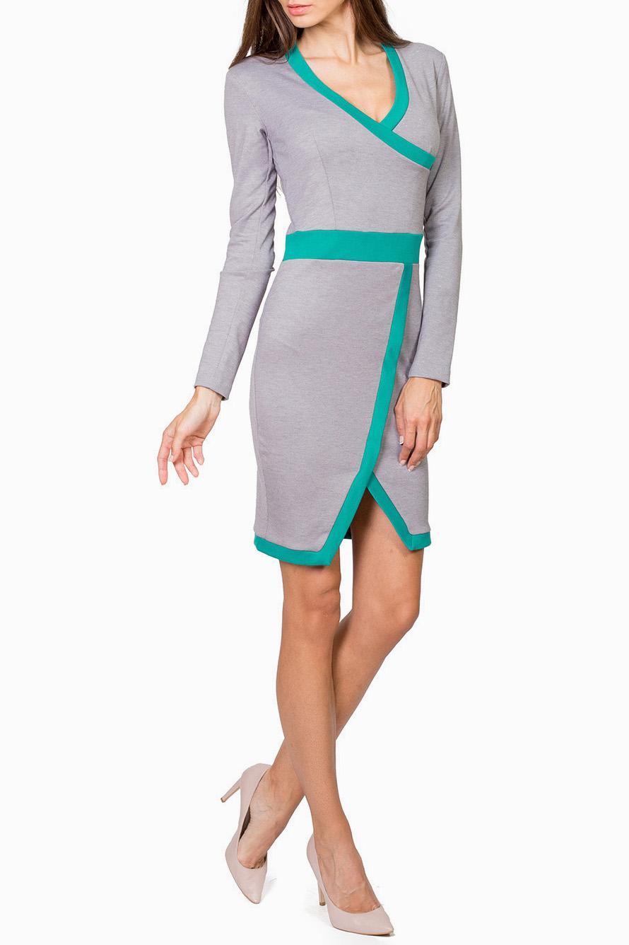 ПлатьеПлатья<br>Привлекательное платье с V-образной горловиной и длинными рукавами. Модель выполнена из плотного трикотажа с контрастным декором. Отличный выбор для повседневного гардероба.Цвет: серый, бирюзовыйРост девушки-фотомодели 182 см.<br><br>Горловина: V- горловина,Запах<br>Рукав: Длинный рукав<br>Длина: До колена<br>Материал: Трикотаж,Вискоза<br>Рисунок: Цветные<br>Сезон: Весна,Осень,Зима<br>Стиль: Повседневный стиль,Классический стиль,Кэжуал,Офисный стиль<br>Силуэт: Приталенные<br>Форма: Платье - футляр,Платье - карандаш<br>Элементы: С фигурным низом,С вырезом,С разрезом<br>Размер : 42,46,48<br>Материал: Джерси<br>Количество в наличии: 3