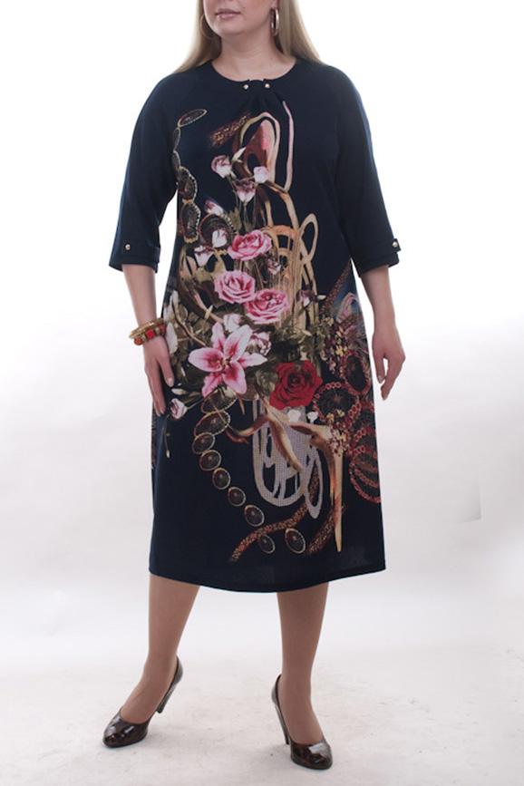 ПлатьеПлатья<br>Красивое платье с круглой горловиной и рукавами 3/4. Модель выполнена из плотного трикотажа. Отличный выбор для повседневного гардероба.  Цвет: черный, мультицвет  Рост девушки-фотомодели 173 см.<br><br>Горловина: С- горловина<br>По длине: Ниже колена<br>По материалу: Вискоза,Трикотаж<br>По образу: Город,Свидание<br>По рисунку: Растительные мотивы,Цветные,Цветочные,С принтом<br>По сезону: Весна,Осень<br>По силуэту: Полуприталенные<br>По стилю: Повседневный стиль<br>По форме: Платье - трапеция<br>По элементам: С декором<br>Рукав: Рукав три четверти<br>Размер : 52<br>Материал: Трикотаж<br>Количество в наличии: 5