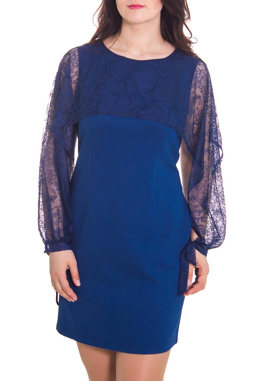ПлатьеПлатья<br>Женское платье с круглой горловиной и интересными рукавами. Модель выполнена из ажурного гипюра. Отличный выбор для повседневного гардероба.  Рост девушки-фотомодели 180 см.  Цвет: синий<br><br>Горловина: С- горловина<br>По рисунку: Однотонные<br>По сезону: Весна,Всесезон,Зима,Лето,Осень<br>По силуэту: Полуприталенные<br>Рукав: Длинный рукав<br>По форме: Платье - футляр<br>По материалу: Гипюр,Вискоза<br>По стилю: Повседневный стиль,Нарядный стиль<br>По длине: До колена<br>Размер : 46,48,50,52<br>Материал: Вискоза<br>Количество в наличии: 6