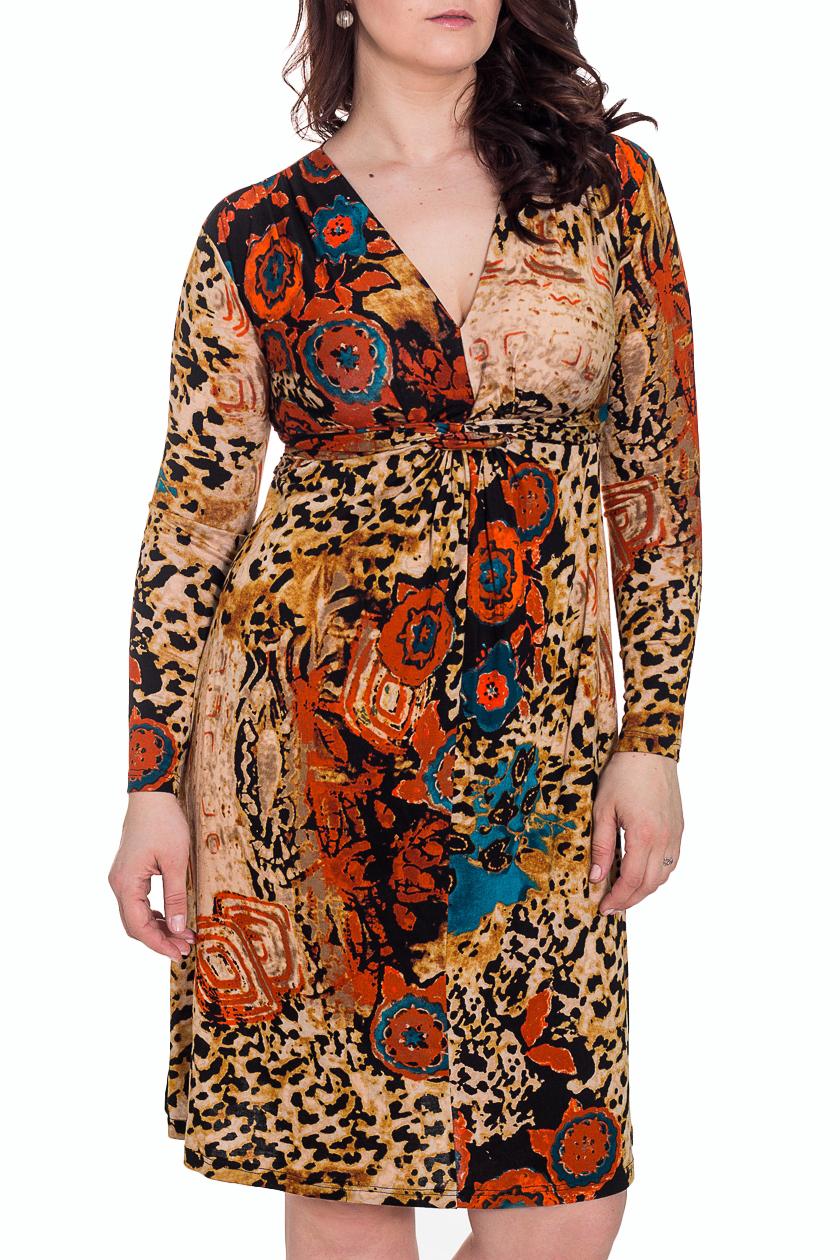 ПлатьеПлатья<br>Теплое платье с длинными рукавами. Модель выполнена из приятного трикотажа. Отличный выбор для повседневного гардероба.  Цвет: бежевый. мультицвет  Рост девушки-фотомодели 180 см<br><br>Горловина: V- горловина<br>По длине: До колена<br>По материалу: Вискоза,Трикотаж<br>По рисунку: Абстракция,Леопард,Цветные<br>По силуэту: Полуприталенные<br>По стилю: Повседневный стиль<br>По форме: Платье - трапеция<br>По элементам: С декором<br>Рукав: Длинный рукав<br>По сезону: Зима<br>Размер : 48<br>Материал: Трикотаж<br>Количество в наличии: 3