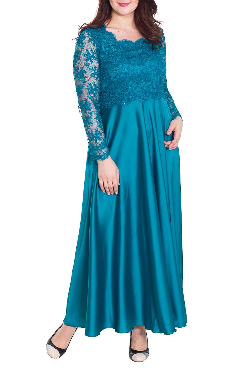 ПлатьеПлатья<br>Великолепное платье в пол. Модель выполнена из гладкого атласа и гипюрового верха. Отличный выбор для любого торжества.  Цвет: голубой  Рост девушки-фотомодели 180 см.<br><br>Воротник: Фантазийный<br>По длине: Макси<br>По материалу: Атлас,Гипюр<br>По образу: Выход в свет<br>По рисунку: Однотонные<br>По сезону: Весна,Всесезон,Зима,Лето,Осень<br>По силуэту: Полуприталенные<br>По стилю: Нарядный стиль<br>По форме: Платье - трапеция<br>Рукав: Длинный рукав<br>Горловина: Фигурная горловина<br>Размер : 50,52<br>Материал: Атлас + Гипюровая сетка<br>Количество в наличии: 2