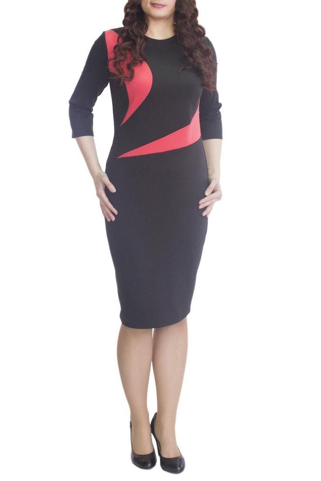 ПлатьеПлатья<br>Элегантное платье построенное на сочетании двух контрастных цветов и ассиметричном рисунке. Классический вариант для офиса. Вырез горловины круглый. Рукав 3/4. Ткань - плотный трикотаж, характеризующийся эластичностью, растяжимостью и мягкостью.  Плотность ткани 280 гр/м2  Длина изделия 100-105 см.  В изделии использованы цвета: черный, коралловый  Рост девушки-фотомодели 170 см<br><br>Горловина: С- горловина<br>По длине: До колена<br>По материалу: Вискоза,Трикотаж<br>По образу: Город,Свидание<br>По рисунку: Цветные<br>По силуэту: Приталенные<br>По стилю: Повседневный стиль<br>По форме: Платье - футляр<br>Рукав: Рукав три четверти<br>По сезону: Осень,Весна<br>Размер : 48,50,52,54,56,60<br>Материал: Трикотаж<br>Количество в наличии: 6