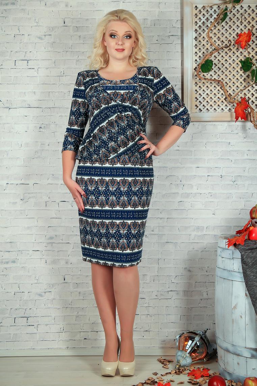 ПлатьеПлатья<br>Нарядное платье с круглой головиной и рукавами 3/4. Модель выполнена из приятного материала и воздушного шифона. Отличный выбор для любого случая.  В изделии использованы цвета: синий, бежевый и др.  Параметры размеров: 44 размер - обхват груди 84 см., обхват талии 72 см., обхват бедер 97 см. 46 размер - обхват груди 92 см., обхват талии 76 см., обхват бедер 100 см. 48 размер - обхват груди 96 см., обхват талии 80 см., обхват бедер 103 см. 50 размер - обхват груди 100 см., обхват талии 84 см., обхват бедер 106 см. 52 размер - обхват груди 104 см., обхват талии 88 см., обхват бедер 109 см. 54 размер - обхват груди 110 см., обхват талии 94,5 см., обхват бедер 114 см. 56 размер - обхват груди 116 см., обхват талии 101 см., обхват бедер 119 см. 58 размер - обхват груди 122 см., обхват талии 107,5 см., обхват бедер 124 см. 60 размер - обхват груди 128 см., обхват талии 114 см., обхват бедер 129 см.  Ростовка изделия 168 см.<br><br>Горловина: С- горловина<br>По длине: Ниже колена<br>По материалу: Тканевые,Шифон<br>По рисунку: С принтом,Цветные,Цветочные<br>По сезону: Весна,Зима,Лето,Осень,Всесезон<br>По силуэту: Полуприталенные<br>По стилю: Нарядный стиль,Повседневный стиль<br>По форме: Платье - футляр<br>Рукав: Рукав три четверти<br>Размер : 56,58<br>Материал: Плательная ткань + Шифон<br>Количество в наличии: 2