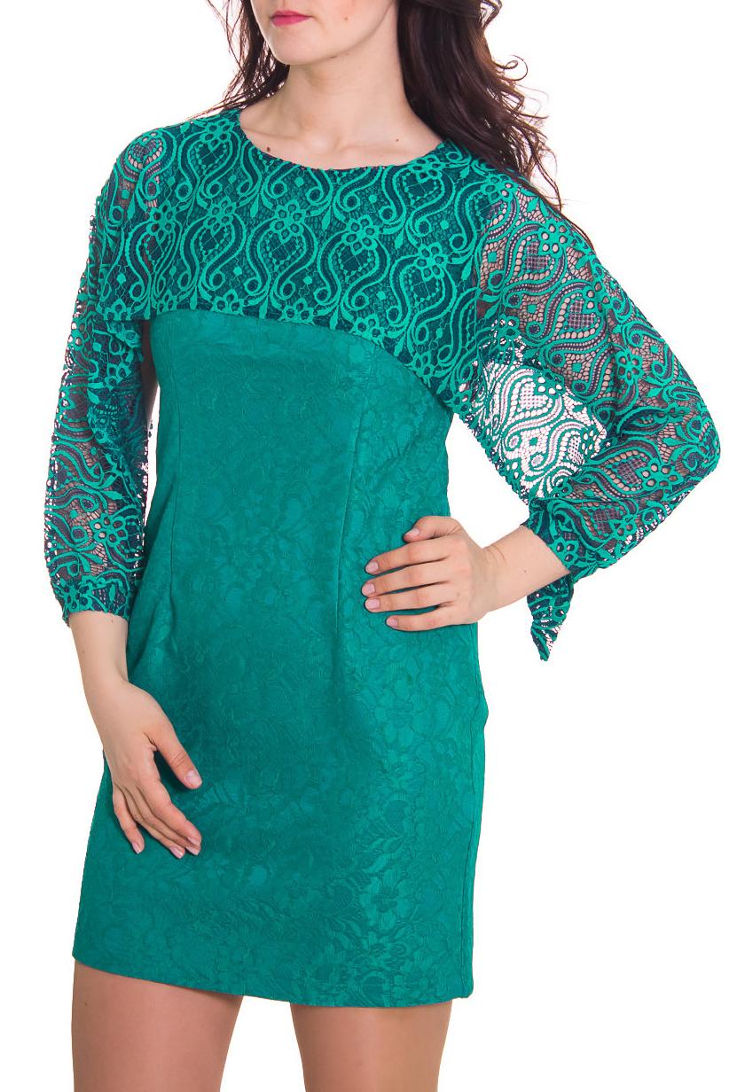 ПлатьеПлатья<br>Женское платье с круглой горловиной и интересными рукавами. Модель выполнена из ажурного гипюра. Отличный выбор для повседневного гардероба.  Рост девушки-фотомодели 180 см.  Цвет: зеленый<br><br>Горловина: С- горловина<br>По рисунку: Однотонные,Фактурный рисунок<br>По сезону: Весна,Всесезон,Зима,Лето,Осень<br>По форме: Платье - футляр<br>По материалу: Гипюр,Вискоза<br>По стилю: Повседневный стиль,Нарядный стиль<br>По длине: До колена<br>По силуэту: Приталенные<br>Рукав: Рукав три четверти<br>Размер : 46,56<br>Материал: Вискоза<br>Количество в наличии: 2
