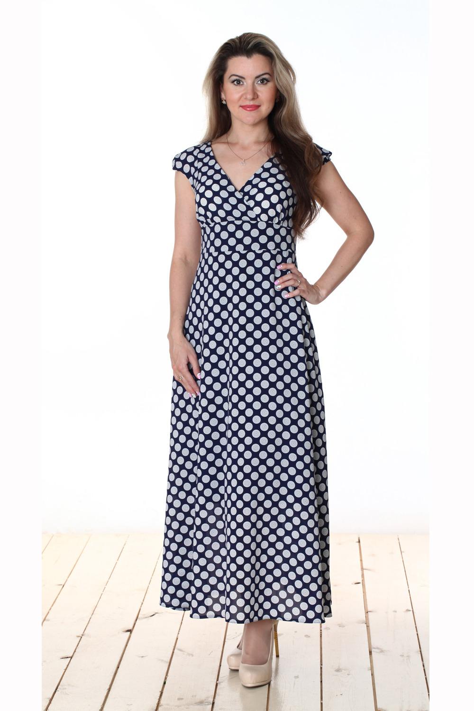 ПлатьеПлатья<br>Восхитительное женское платье-макси с короткими рукавами. Модель выполнена из креп-шифона. Отличный выбор для любого случая.  Цвет: синий, белый  Длина изделия 122 см  Длина рукава 14 см   Рост девушки-фотомодели 163 см<br><br>По образу: Выход в свет,Город,Свидание<br>По стилю: Нарядный стиль,Повседневный стиль<br>По материалу: Вискоза,Шифон<br>По рисунку: В горошек,Цветные<br>По сезону: Осень,Весна,Всесезон,Зима,Лето<br>По силуэту: Полуприталенные<br>По элементам: С декором<br>По форме: Платье - трапеция<br>По длине: Макси<br>Рукав: Короткий рукав<br>Горловина: V- горловина,Запах<br>Размер: 44,46,48,50,52,54<br>Материал: 50% вискоза 50% полиэстер<br>Количество в наличии: 4