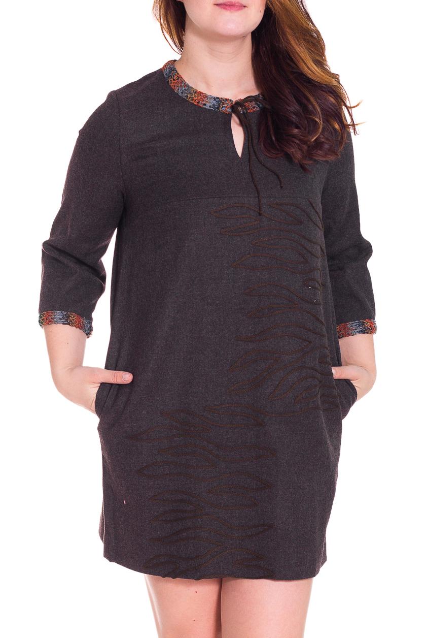 ПлатьеПлатья<br>Красивое платье свободного силуэта. Модель выполнена из шерсти. Отличный выбор для повседневного гардероба.  Цвет: коричневый, оранжевый, серый  Рост девушки-фотомодели 180 см<br><br>По образу: Город,Свидание<br>По стилю: Повседневный стиль<br>По материалу: Шерсть<br>По рисунку: Цветные<br>По сезону: Зима<br>По силуэту: Свободные<br>По элементам: С декором,С карманами<br>По форме: Платье - трапеция<br>По длине: До колена<br>Рукав: Рукав три четверти<br>Горловина: С- горловина<br>Размер: 44,46,48,50,52,54,56,58,60<br>Материал: 100% шерсть<br>Количество в наличии: 18