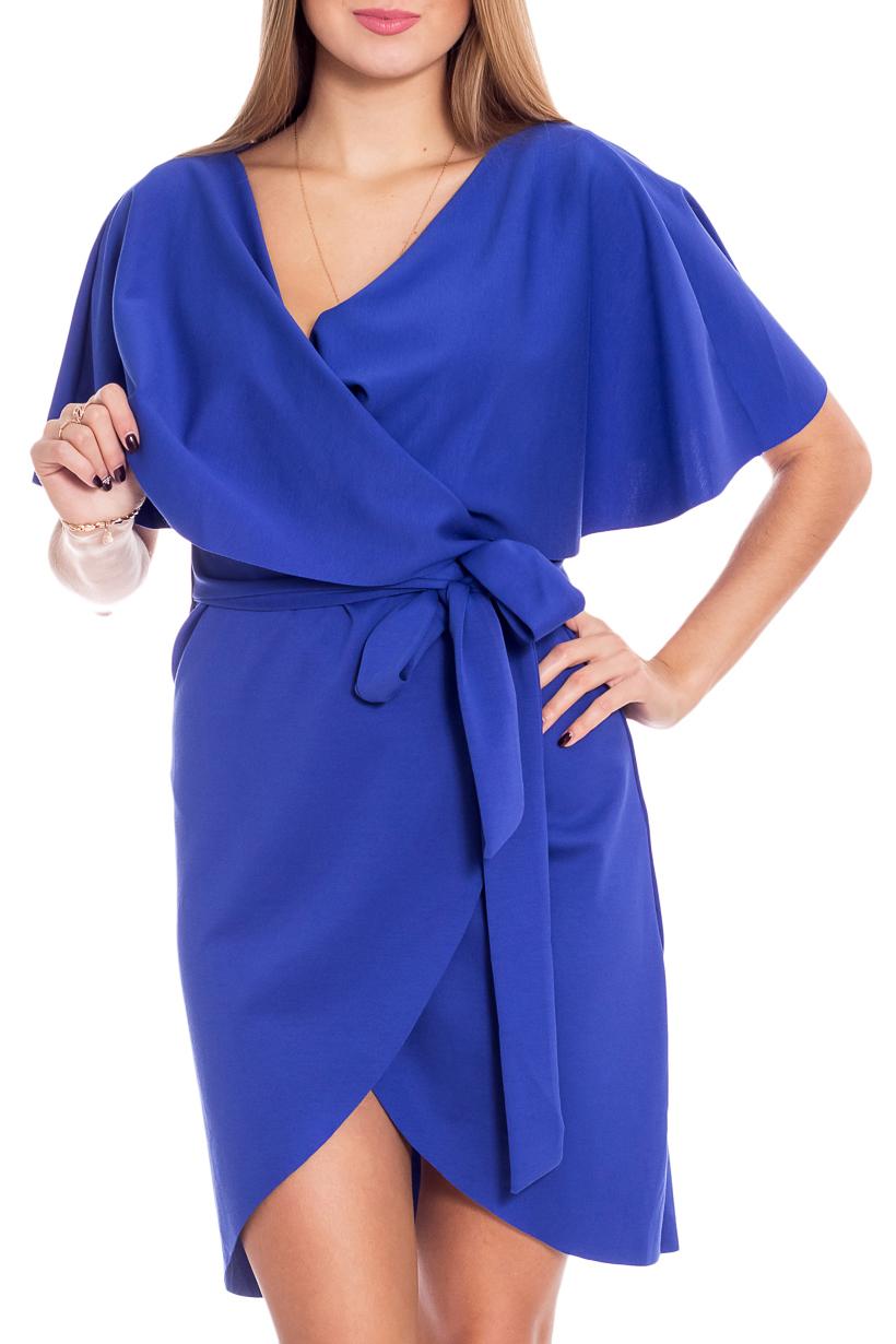 Платье-кардиганКардиганы<br>Интересное платье-кардиган без застежки. Модель выполнена из приятного материала. Отличный выбор для повседневного и делового гардероба. Кардиган без пояса.  Цвет: синий  Рост девушки-фотомодели 170 см<br><br>Воротник: Отложной<br>Горловина: Запах<br>По материалу: Трикотаж,Хлопок<br>По рисунку: Однотонные<br>По силуэту: Приталенные<br>По стилю: Офисный стиль,Повседневный стиль<br>Рукав: Короткий рукав<br>По сезону: Осень,Весна<br>По длине: Средней длины<br>Размер : 42<br>Материал: Джерси<br>Количество в наличии: 1