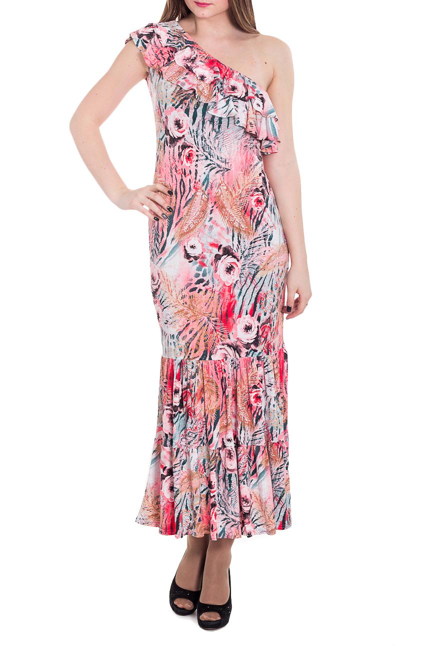 ПлатьеПлатья<br>Эффектное платье в пол из приятного трикотажа. Отличный выбор для летнего гардероба.  Цвет: коралловый, мультицвет  Рост девушки-фотомодели 183 см<br><br>По длине: Макси<br>По материалу: Трикотаж<br>По образу: Свидание<br>По рисунку: Зебра,Леопард,Растительные мотивы,С принтом,Цветные,Цветочные<br>По силуэту: Приталенные<br>По стилю: Повседневный стиль<br>По форме: Платье - футляр<br>По элементам: С воланами и рюшами<br>Рукав: Без рукавов<br>По сезону: Лето<br>Размер : 42,44,46,48,50<br>Материал: Холодное масло<br>Количество в наличии: 7