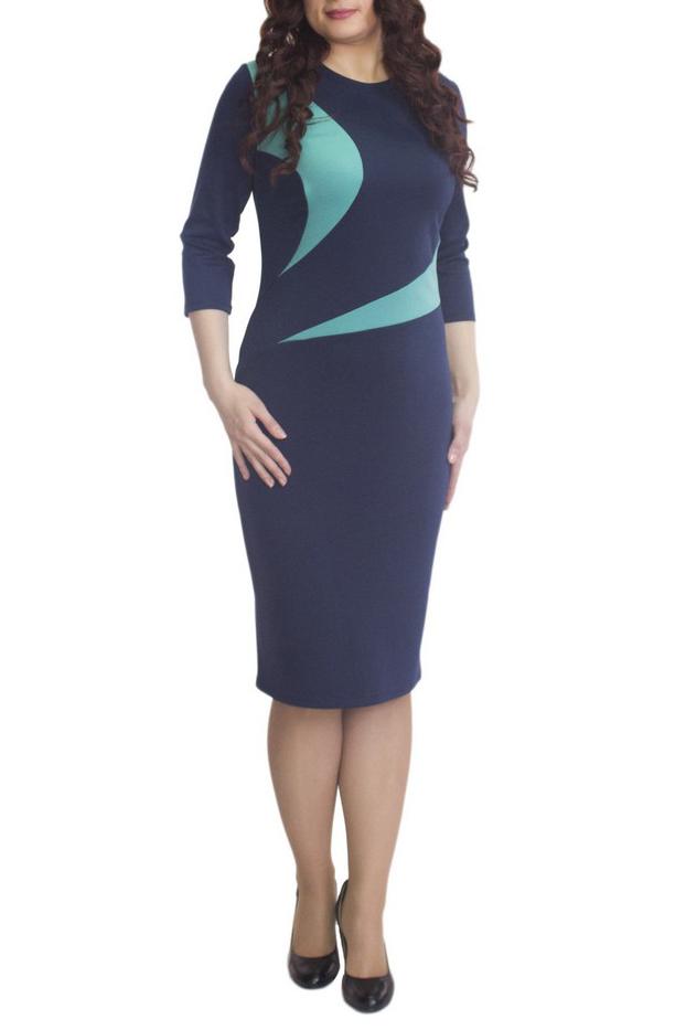 ПлатьеПлатья<br>Элегантное платье построенное на сочетании двух контрастных цветов и ассиметричном рисунке. Классический вариант для офиса. Вырез горловины круглый. Рукав 3/4. Ткань - плотный трикотаж, характеризующийся эластичностью, растяжимостью и мягкостью.  Плотность ткани 280 гр/м2  Длина изделия 100-105 см.  В изделии использованы цвета: синий, бирюзовый  Рост девушки-фотомодели 170 см<br><br>Горловина: С- горловина<br>По длине: До колена<br>По материалу: Вискоза,Трикотаж<br>По рисунку: Цветные<br>По силуэту: Приталенные<br>По стилю: Повседневный стиль<br>По форме: Платье - футляр<br>Рукав: Рукав три четверти<br>По сезону: Осень,Весна,Зима<br>Размер : 56,60<br>Материал: Трикотаж<br>Количество в наличии: 2