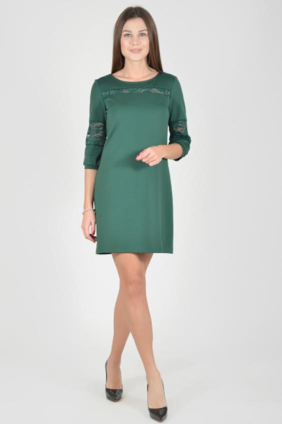 ПлатьеПлатья<br>Однотонное платье с круглой горловиной и рукавами 3/4. Модель выполнена из приятного материала. Отличный выбор для любого случая.  В изделии использованы цвета: зеленый  Рост девушки-фотомодели 175 см.  Параметры размеров: 42 размер - обхват груди 84 см., обхват талии 66 см., обхват бедер 92 см. 44 размер - обхват груди 88 см., обхват талии 70 см., обхват бедер 96 см. 46 размер - обхват груди 92 см., обхват талии 74 см., обхват бедер 100 см. 48 размер - обхват груди 96 см., обхват талии 78 см., обхват бедер 104 см. 50 размер - обхват груди 100 см., обхват талии 82 см., обхват бедер 108 см. 52 размер - обхват груди 104 см., обхват талии 86 см., обхват бедер 112 см. 54 размер - обхват груди 108 см., обхват талии 91 см., обхват бедер 116 см. 56 размер - обхват груди 112 см., обхват талии 95 см., обхват бедер 120 см. 58 размер - обхват груди 116 см., обхват талии 100 см., обхват бедер 124 см. 60 размер - обхват груди 120 см., обхват талии 105 см., обхват бедер 128 см.<br><br>Горловина: С- горловина<br>По длине: До колена<br>По материалу: Гипюр,Трикотаж<br>По рисунку: Однотонные<br>По сезону: Зима,Осень,Весна<br>По силуэту: Полуприталенные<br>По стилю: Нарядный стиль,Повседневный стиль<br>По форме: Платье - футляр<br>Рукав: Рукав три четверти<br>Размер : 44,48,50,52<br>Материал: Трикотаж + Гипюр<br>Количество в наличии: 7