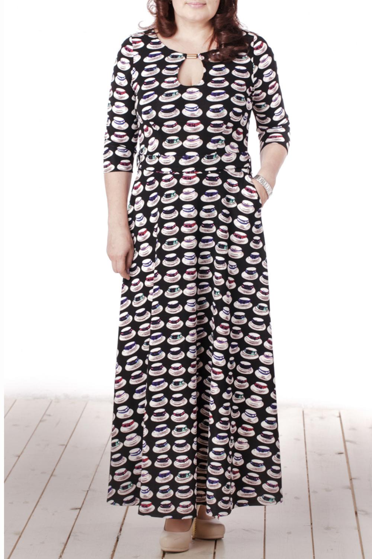 ПлатьеПлатья<br>Чудесное женское платье с круглой горловиной, декоративным вырезом и рукавами 3/4. Модель выполнена из приятного трикотажа с интересным принтом. Отличный выбор для любого случая.  Цвет: черный, мультицвет  Длина изделия 132 см  Длина рукава 44 см   Рост девушки-фотомодели 165 см<br><br>Горловина: С- горловина<br>По длине: Макси<br>По материалу: Вискоза,Трикотаж<br>По рисунку: Цветные,С принтом<br>По сезону: Весна,Всесезон,Зима,Лето,Осень<br>По силуэту: Полуприталенные<br>По стилю: Повседневный стиль<br>По форме: Платье - трапеция<br>По элементам: С вырезом,С декором<br>Рукав: Рукав три четверти<br>Размер : 46,48,50,52<br>Материал: Трикотаж<br>Количество в наличии: 4
