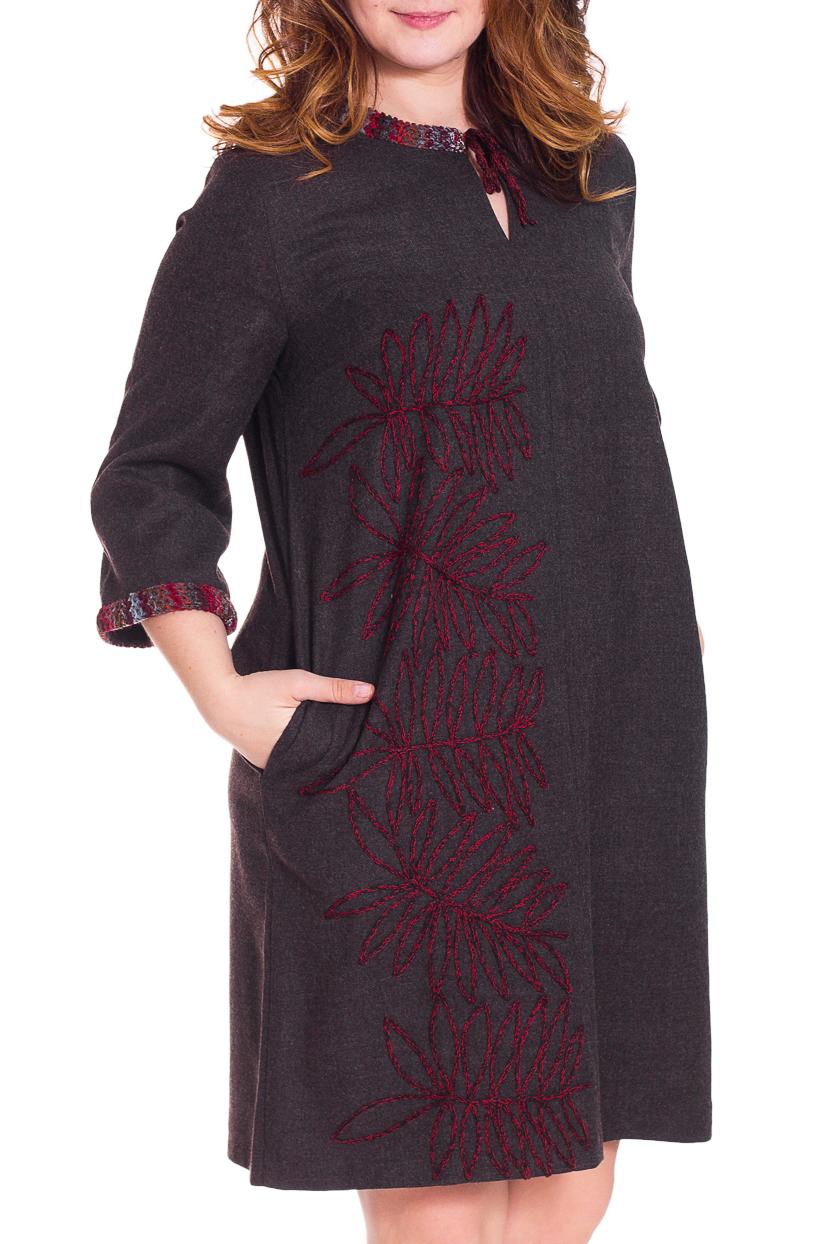 ПлатьеПлатья<br>Красивое платье свободного силуэта. Модель выполнена из шерсти. Отличный выбор для повседневного гардероба.  Цвет: коричневый, красный, серый  Рост девушки-фотомодели 180 см<br><br>Горловина: С- горловина<br>По длине: До колена<br>По материалу: Шерсть<br>По рисунку: Цветные<br>По силуэту: Свободные<br>По стилю: Повседневный стиль<br>По форме: Платье - трапеция<br>По элементам: С декором,С карманами<br>Рукав: Рукав три четверти<br>По сезону: Зима<br>Размер : 46,48,50,58,60<br>Материал: Шерсть<br>Количество в наличии: 7