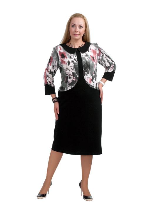 ПлатьеПлатья<br>Красивое платье с имитацией жакета. Модель выполнена из приятного трикотажа. Отличный выбор для любого случая.  Цвет: черный, серый, белый, коралловый  Рост девушки-фотомодели 173 см.<br><br>Воротник: Отложной<br>Горловина: С- горловина<br>По длине: Ниже колена<br>По материалу: Вискоза,Трикотаж<br>По образу: Город,Свидание<br>По рисунку: С принтом,Цветные<br>По силуэту: Полуприталенные<br>По стилю: Повседневный стиль<br>Рукав: Рукав три четверти<br>По сезону: Осень,Весна<br>Размер : 54,66,68<br>Материал: Джерси<br>Количество в наличии: 3