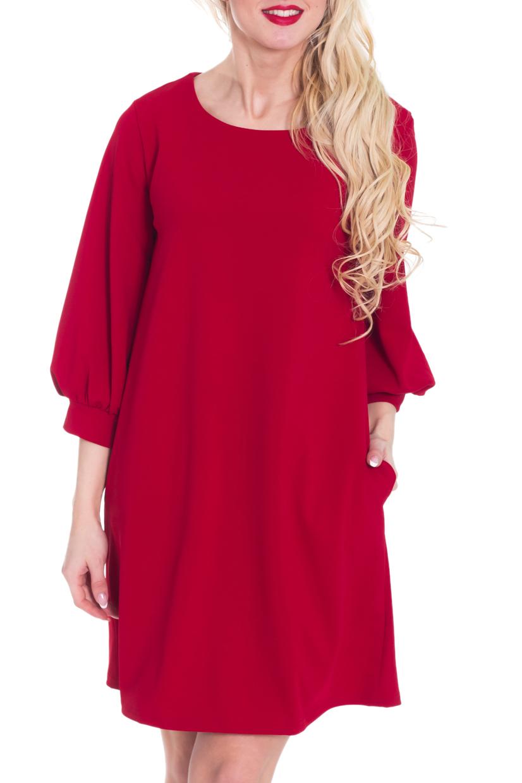 ПлатьеПлатья<br>Красное платье свободного силуэта с рукавами 3/4. Модель выполнена из приятного материала. Отличный выбор для любого случая.  Цвет: красный  Рост девушки-фотомодели 170 см.<br><br>Горловина: С- горловина<br>По длине: До колена<br>По материалу: Трикотаж<br>По рисунку: Однотонные<br>По сезону: Весна,Осень,Зима<br>По силуэту: Свободные<br>По стилю: Нарядный стиль,Повседневный стиль<br>По форме: Платье - трапеция<br>По элементам: С манжетами<br>Рукав: Рукав три четверти<br>Размер : 40-42<br>Материал: Трикотаж<br>Количество в наличии: 1